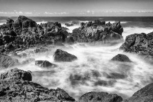 Küste Stein milchig Wasser Fels Meer