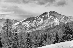 Berge Schnee weiß Winter schwarz