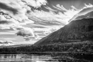 Kungsleden Lappland Schweden Abiskojaure Wolken See