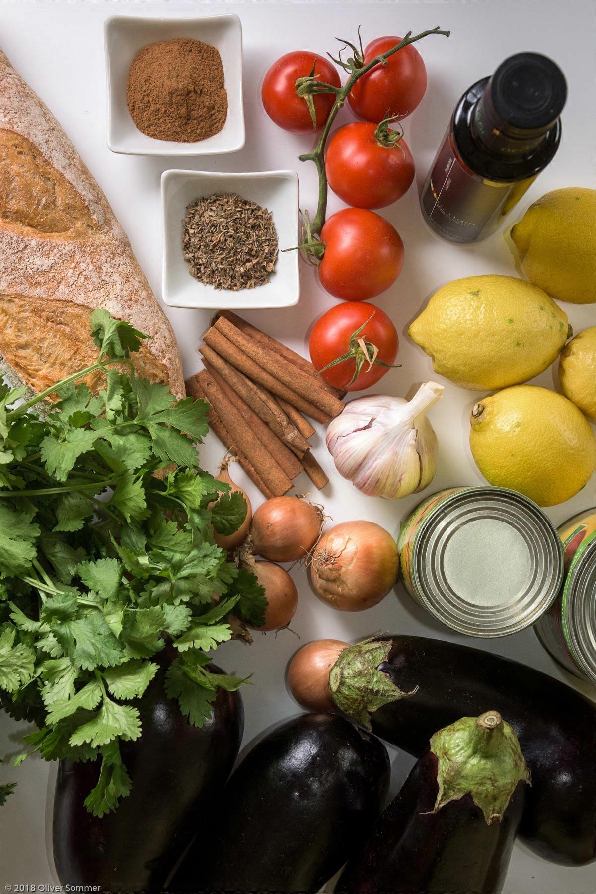 Cilantro, Cinnamon stick, Eggplant, Lemon, Tomatoes