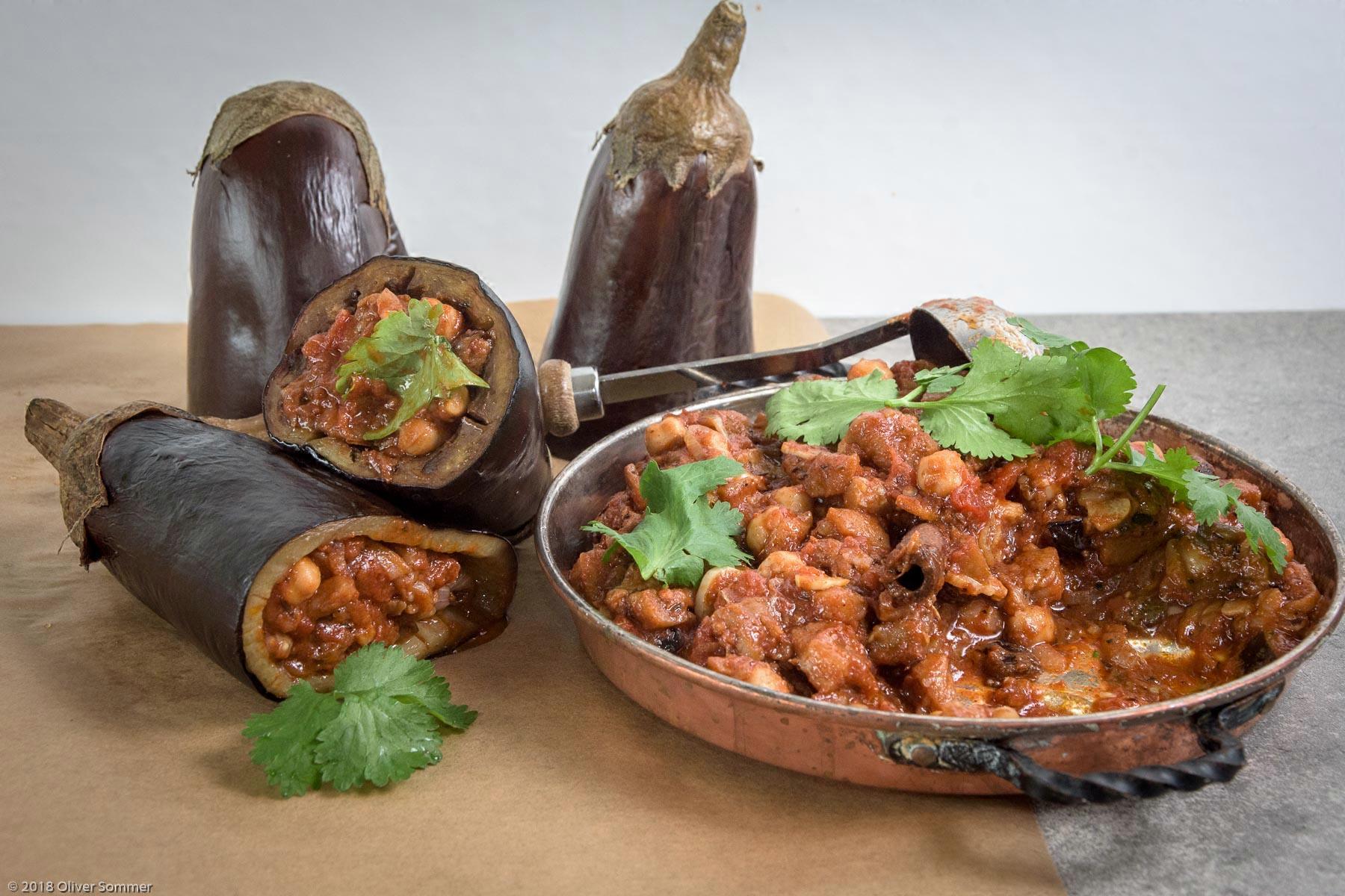Chickpeas, Cinnamon eggplant, Filo Lebanese, cilantro, Maghmour