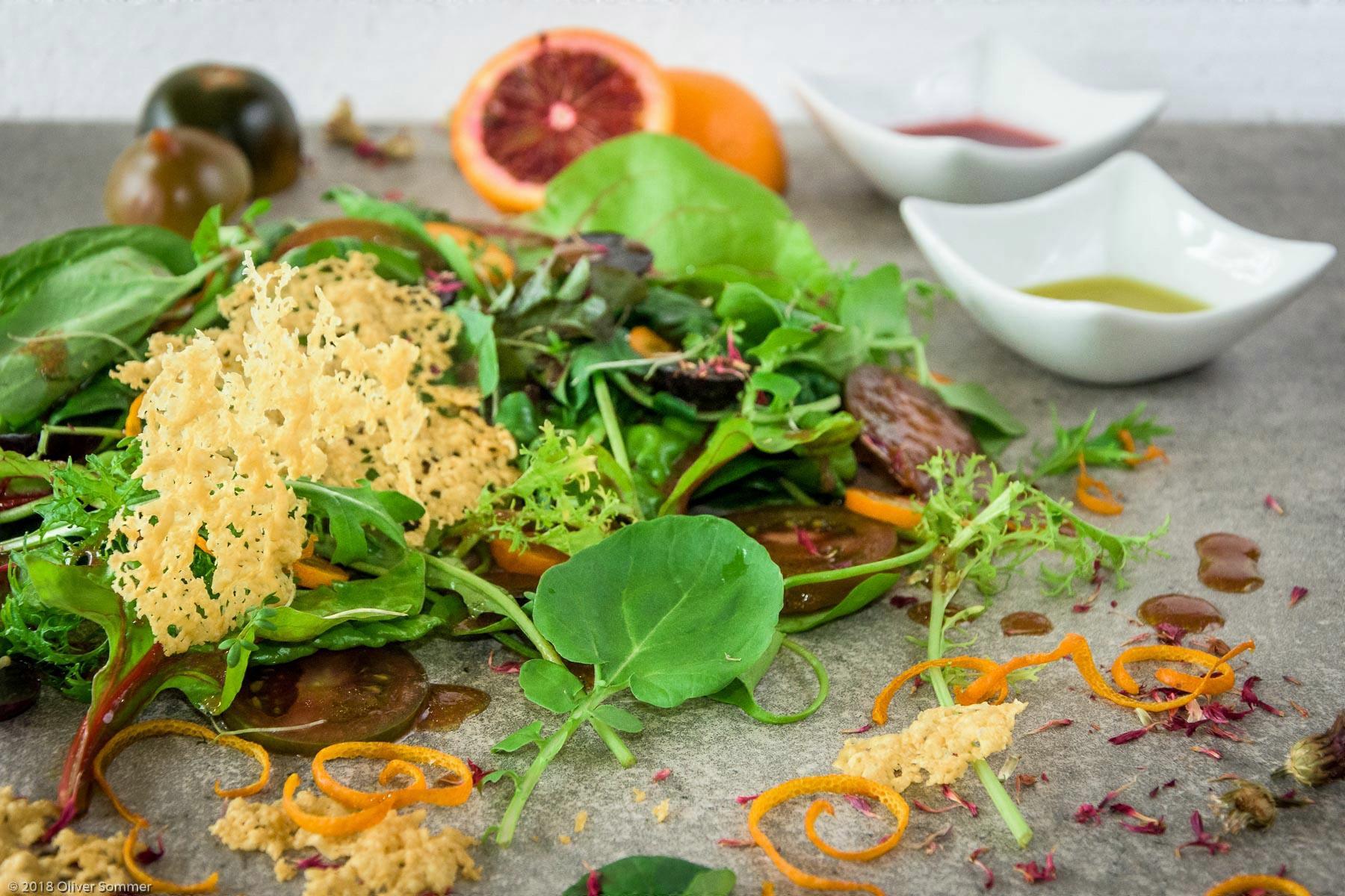 Blood Orange, Kumquat, Parmesan crisp, salad